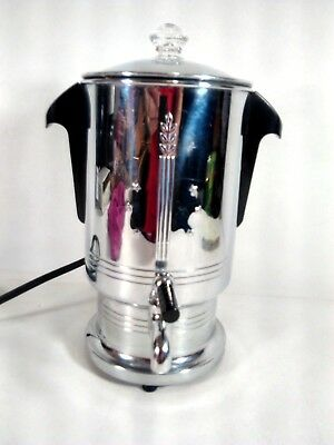 Vintage GE General Electric Hotpoint Chrome Percolator Coffee Maker 119P87