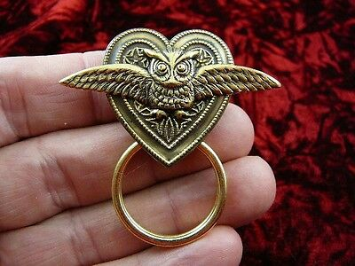 (E-589) Owl with wings spread heart brass Eyeglass pin pendant ID badge holder