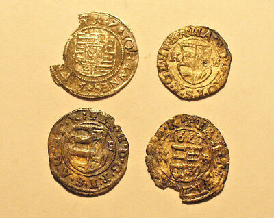 Hungary 4 silver medieval coins 'denar' 16th-17th century - nice lot   #81
