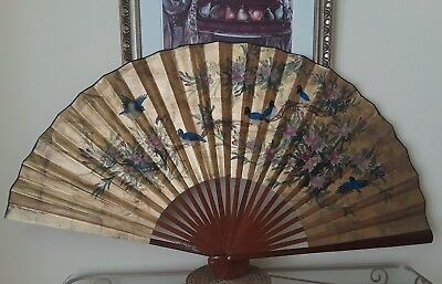VINTAGE Asian Antique Large 6' Fan mid-century Hanging Wall Decoration