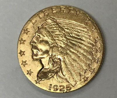1925-D $2-1/2 Indian Gold Coin - Almost Uncirculated Coin - From Estate Sale