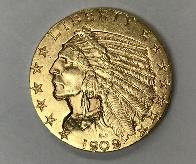 1909-D $5 Indian Gold Coin - Almost Uncirculated Coin - From Estate Sale