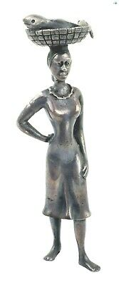 Gorgeous Antique African American Woman Fish Market Seller Silver Statue