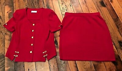ST JOHN Collection by Marie Gray Red Knit Skirt & Top Suit Short Sleeve