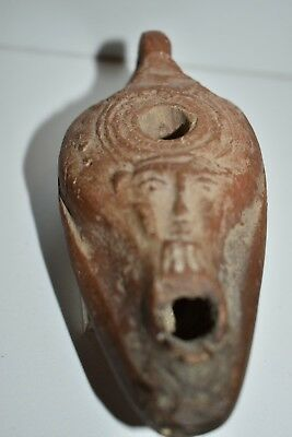 Egyptian Oil lamp with Face of HATHOR- 300 B.C. God of Love and Magic. Antique