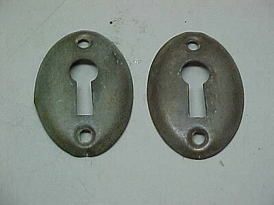 Old Antique Pair Of Solid Brass Vintage Oval Escutcheons Keyhole Key Hole Covers