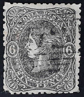 1866- Victoria Australia 6d Grey Black Beaded Oval stamp Saunders Paper Used
