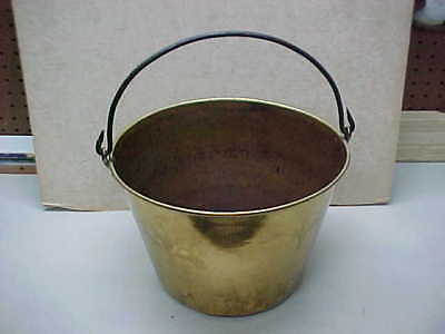 Heavy Old Antique Vintage Brass Bucket Pail + Hand Forged Steel Handle