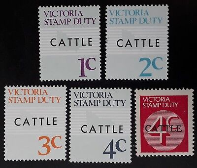 1966 Victoria Australia Lot of 5 X Stamp Duty Stamps CATTLE Overprints MUH