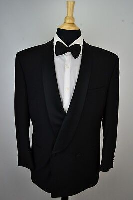 Canali Shawl Collar Solid Black 100% Wool 2 Piece Full Tuxedo Jacket Pants 40R