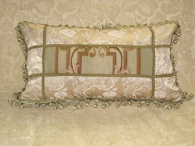 AUTHENTIC 19th CENTURY ANTIQUE FRENCH AUBUSSON TAPESTRY LUMBAR PILLOW