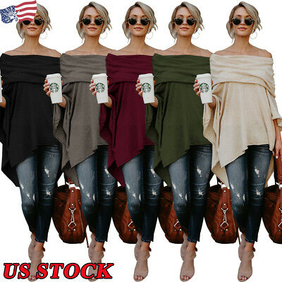 Womens Sexy Off-The-Shoulder Tops Asymmetrical Fashion Casual Shirts Blouse Size