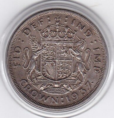 Very  Sharp  1937  King  George  VI  Large Crown / Five Shilling British  Coin