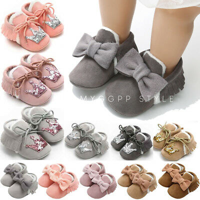 Newborn Baby Toddler Girl Cotton Shoes First Walkers Kid Soft Shoes Sneaker Id