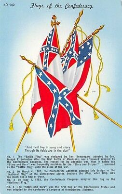 IMAGE OF 4 FLAGS OF THE CONFEDERACY USED DURING THE CIVIL WAR, Pub c. 1950's