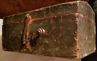 1880? Small Painted Dome Top Wooden Box Trunk Tools? Glass? Dark Blue Red Dots