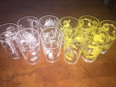 10 Vintage 1950's Davy Crockett Welch's Jelly Glasses