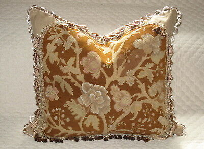 """HUGE ANTIQUE FLORAL NEEDLEPOINT TAPESTRY PILLOW IN EARTH TONES #1 24"""" x 27"""""""