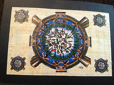 authenticate Ancient Egyptian Zodiac Signs Handmade Painting on Papyrus .