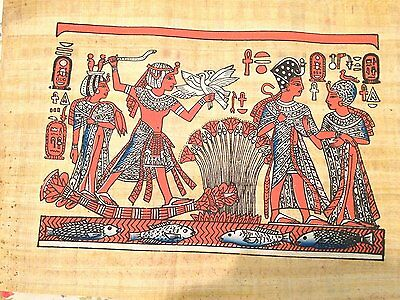 Big Signed Handmade Papyrus Egyptian_KING Tut & wife Boat_Art Painting Antique