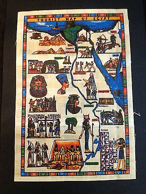 Signed Map of Ancient Egypt Handmade Art Painting on Papyrus Plant Antique.