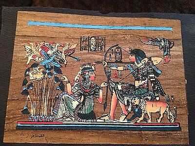 From Egypt Signed Handmade Papyrus Egyptian Ramesses II& wife-Boat Art Painting.