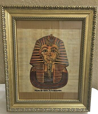 Large Ancient Egyptian king Tut Framed Handmade Papyrus Art Painting from Egypt