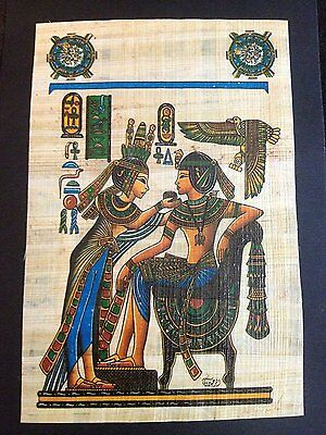 Signed Ancient Egyptian Tutankhamun &Queen offering magic Wine Painting Papyrus.