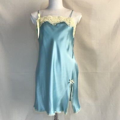 Victoria's Secret Light Teal Slip Pale Yellow Lace Size Extra Size Small