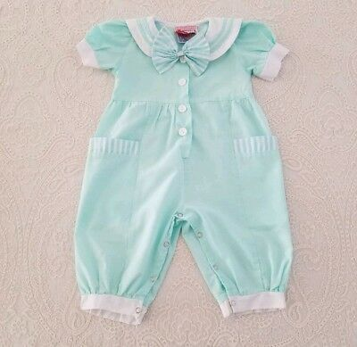 Vintage Baby Girl Pastel Green Romper One Piece Outfit Childrens Clothes