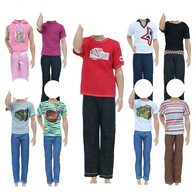 10Pcs=5 Jacket + 5 Trousers Handmade Outfits Uniform Clothes For Barbie Ken Doll