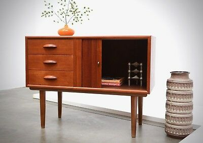 Danish Modern Teak Entry Chest Table Mini Tambour Credenza Mid Century Eames