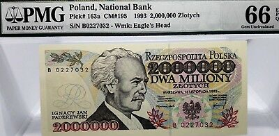 MONEY POLAND 2,000,000 ZLOTYCH 1993 NATIONAL BANK GEM UNC PICK #163a CM #195
