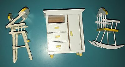 Dollhouse Miniature Yellow & White Wood Baby High Chair, Rocker, Dresser 1:12