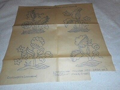 Vintage Embroidery Iron on Transfers-Briggs No. P621-D694-Jacobean Style Flowers