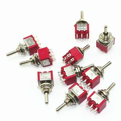 US STOCK 10Pcs Red 6 Pin 2 Position ON-ON Mini Latching Toggle Switch AC125V 6A