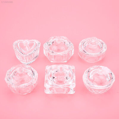 78EC Crystal Glass Transparent Dish Cup w/ Lid For Nail Acrylic Liquid Powder To