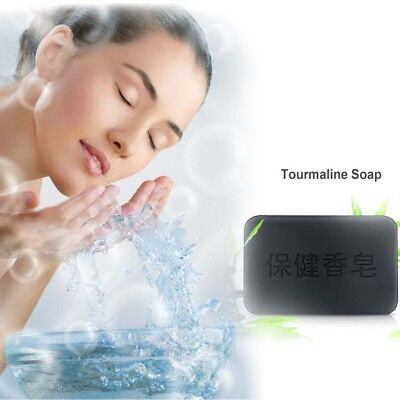 Black Charcoal Soap Face Body Clear Anti Bacterial Tourmaline Health Soap New