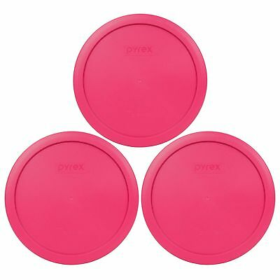 New Pyrex 7402-PC 6/7 Cup Fuschia Pink Round Plastic Lid 3PK for Glass Dish