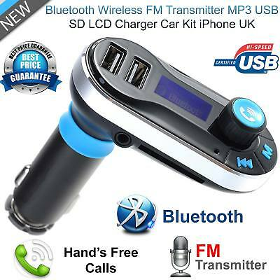 Bluetooth Wireless FM Transmitter Radio Car Kit MP3 Music Player USB Charger UK