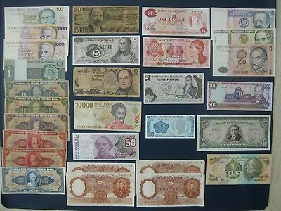 29No. L&C AMERICA BANKNOTE COLLECTION~ARGENTINA, BRAZIL, CHILE, NICARAGUA ETC