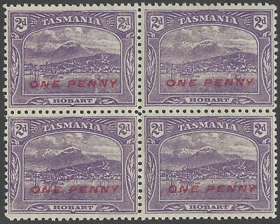 1912 One Penny surcharge on 2d Violet  Perf 11 - Block of 4 Mint - SG260a