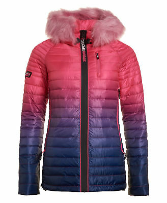 New Womens Superdry Power Fade Fur Jacket Ink/Pink