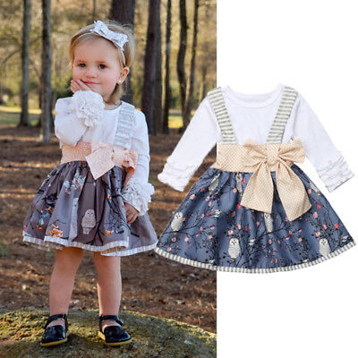 US Newborn Kids Baby Girl Top T-shirt Suspender Skirt Dress Outfit Clothes Canis