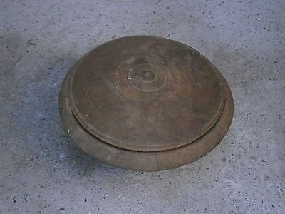 Antique Vintage Wooden Big Saltshaker Box Bowl Plate With Lid