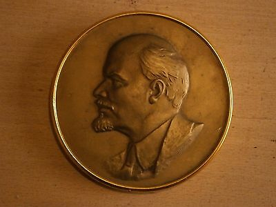 Antique Vintage Brass Figurine Statuette Lenin With Stamps