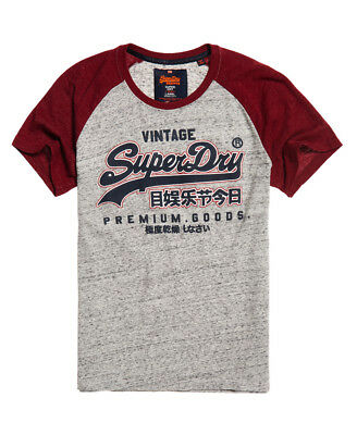 New Mens Superdry Premium Goods Raglan T-Shirt Chrome Grey Grit