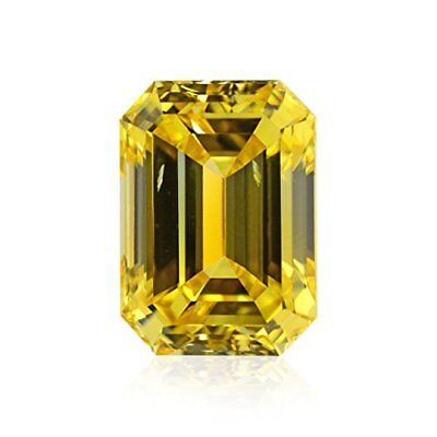 8x6 mm. EMERALD MOISSANITE CANARY YELLOW VVS 0.80 CT. LOOSE SUPERIOR TO DIAMOND