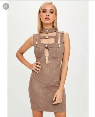 Missguided Brown Suede Button Dress Uk S / M Small Medium New