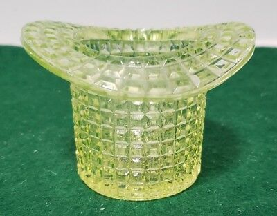 Victorian Vaseline Glass Hat Toothpick - Waffle Pattern - Rochester Glass Co.